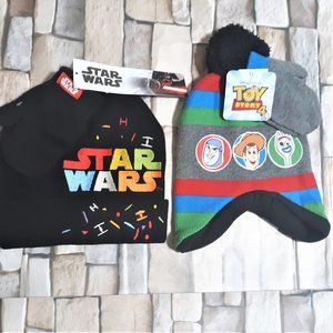 Toddler Boys NWT Star Wars & Toy Story Hat Mittens